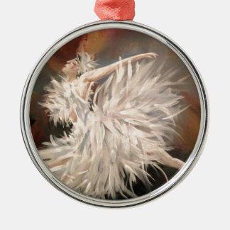 Ballerina Rundes Silberfarbenes Ornament