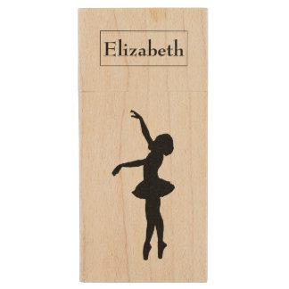 Ballerina-schwarze Silhouette personalisiert Holz USB Stick