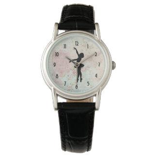Ballerina-Silhouette auf elegantem Vintagem Muster Armbanduhr