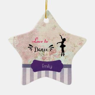 Ballerina-Silhouette-Liebe zu tanzen Keramik Ornament