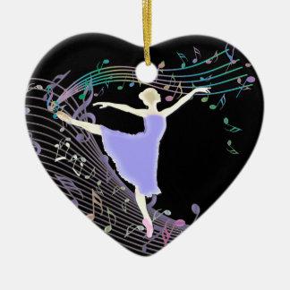 Ballerina-Tanzen im Fantasie-Regenbogen-Musiknoten Keramik Herz-Ornament