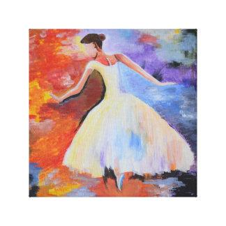 Ballerina-Tanzen in der Farbe Leinwanddruck