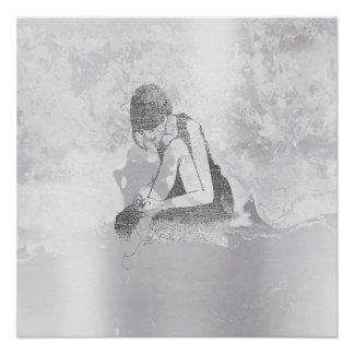 Ballerina-Tänzer-aquamarine Grungy metallische Poster