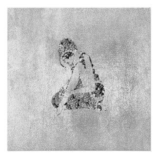 Ballerina-Tänzer-Grungy metallisches silbernes Poster