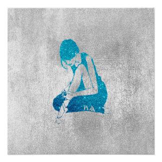 Ballerina-Tänzer-metallischer grauer silberner Poster