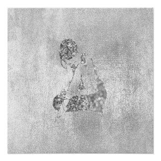 Ballerina-Tänzer-metallischer silbernes Poster