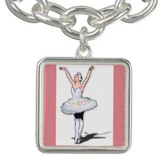 Ballerina-Tänzer-Rosa-Ballett-Tanz-Charme-Armband Charm Armband