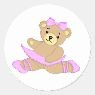 Ballerina-Teddybär Runder Aufkleber