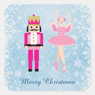 Ballerina u. Nussknacker auf blauem Weihnachten Quadratischer Aufkleber
