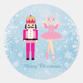 Ballerina u. Nussknacker auf blauem Weihnachten Runder Aufkleber