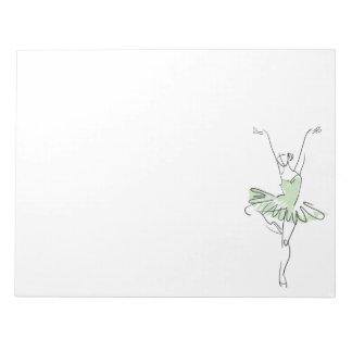 Ballerina weich im Grün Notizblock