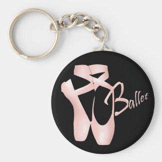 Ballett-Ballerina-Rosa Pointe beschuht Standard Runder Schlüsselanhänger