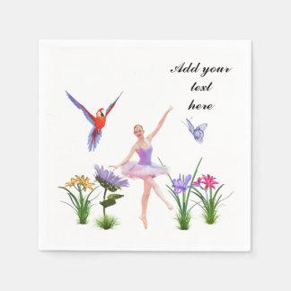 Ballett-Fantasie, Blumen, Papagei, Schmetterling, Servietten