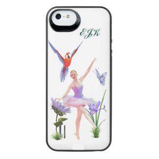 Ballett-Fantasie, Blumen, Schmetterling, Monogramm iPhone SE/5/5s Batterie Hülle
