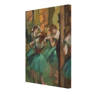 Ballett-Grafik-Tänzer rosa und grüner Edgar Degas Leinwanddruck