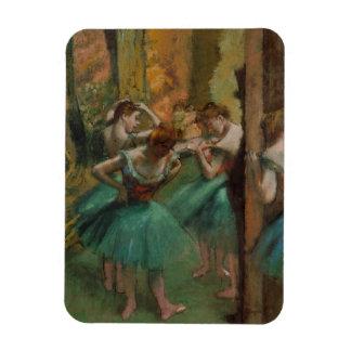 Ballett-Grafik-Tänzer rosa und grüner Edgar Degas Magnet