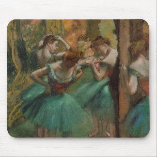 Ballett-Grafik-Tänzer rosa und grüner Edgar Degas Mousepads