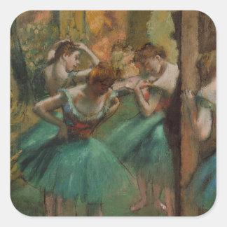 Ballett-Grafik-Tänzer rosa und grüner Edgar Degas Quadratischer Aufkleber