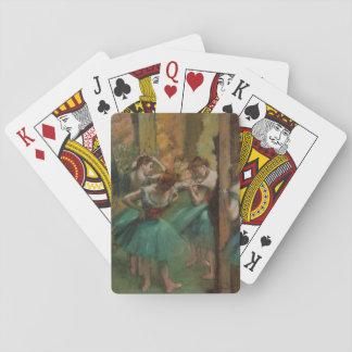 Ballett-Grafik-Tänzer rosa und grüner Edgar Degas Spielkarten