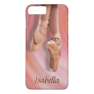 Ballett-Tänzer im Rosa mit individuellem Namen iPhone 7 Plus Hülle