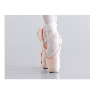 Ballett-Tänzer Pointe beschuht rosa Pantoffel Postkarte