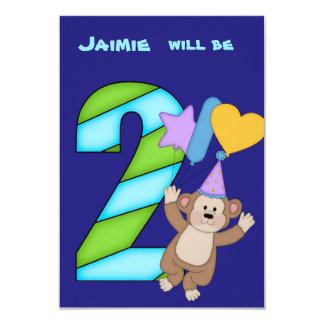 Ballon-Affe-2. Geburtstags-Party Einladung