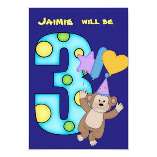 Ballon-Affe-3. Geburtstags-Party Einladung