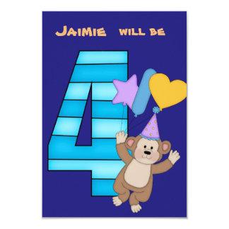 Ballon-Affe-4. Geburtstags-Party Einladung