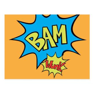 """Ballon-Explosion des Comic-Buch-""""Bam"""" Postkarte"""
