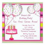 Ballon-Kuchen-Mädchen-4. Geburtstags-Party Individuelle Ankündigungskarte