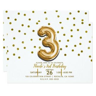 Ballonconfetti-3. Geburtstags-Party des Golddrei 3 Karte