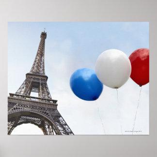 Ballone in den Farben der französischen Flagge her Poster
