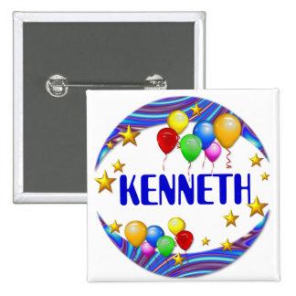 Ballone u. Sterne ~ Namen-Knopf Quadratischer Button 5,1 Cm