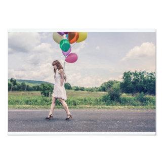Ballonfrauengehen 12,7 X 17,8 Cm Einladungskarte