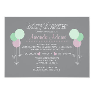 Balloons baby invitation shower karte