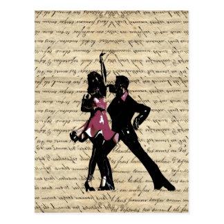 Ballsaaltänzer auf Vintagem Papier Postkarten