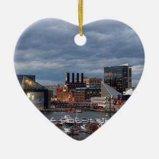 Baltimore-Sonnenuntergangs-Skyline Keramik Herz-Ornament