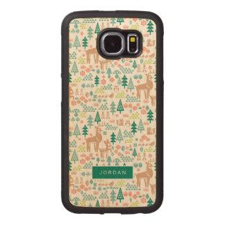 Bambi und Waldfreund-Muster   addieren Ihren Namen Handyhülle Aus Holz