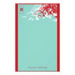 Bambus-Blätter + Blau-Hochzeits-Briefpapier des Do