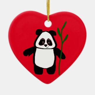 Bambus die Panda-Herz-Verzierung Keramik Herz-Ornament