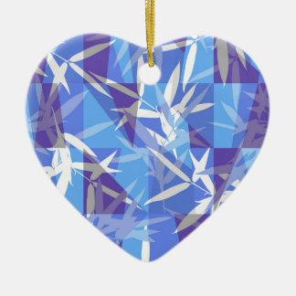 Bambus im blauen geometrischen Muster Keramik Ornament