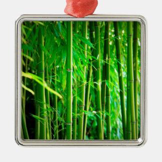 Bambus Quadratisches Silberfarbenes Ornament