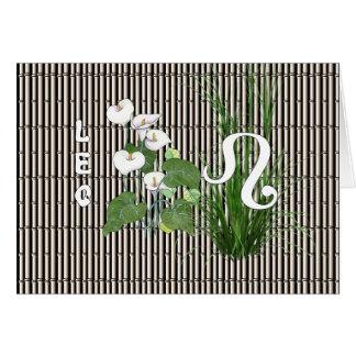 Bambus und Lilie Löwe Karte