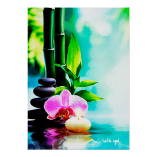 Bambus und Orchidee Poster