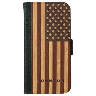 Bambusblick u. gravierte Vintage Amerikaner iPhone 6/6s Geldbeutel Hülle