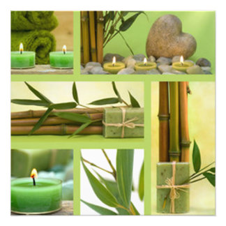 Bambuskerzen-u. Blatt-Collage Fotodruck