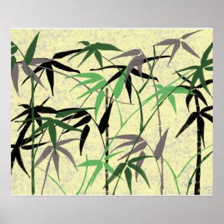 Bambuslaub, Blätter, Trieb - grünes Gelb Poster