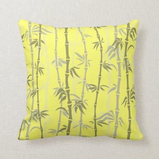 bambusmuster auf gelb kissen zazzle. Black Bedroom Furniture Sets. Home Design Ideas