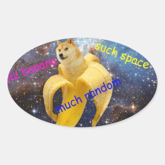 Banane   - Doge - shibe - Raum - wow Doge Ovaler Aufkleber