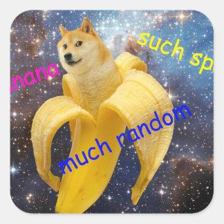 Banane   - Doge - shibe - Raum - wow Doge Quadratischer Aufkleber